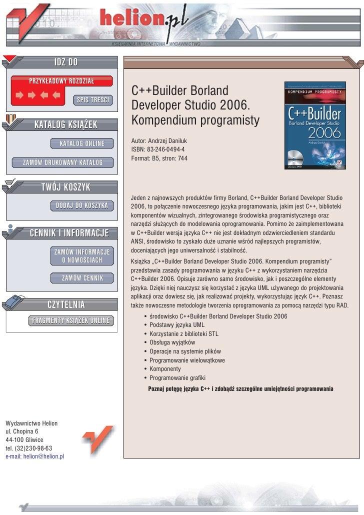 IDZ DO          PRZYK£ADOWY ROZDZIA£                                          C++Builder Borland                          ...