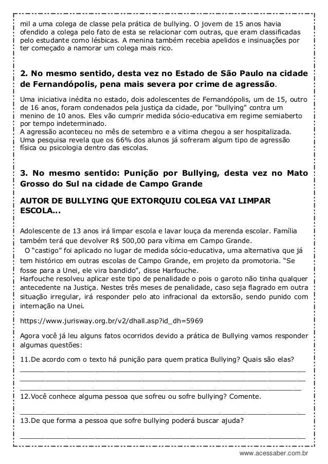 89d538938 PDF  Atividade interdisciplinar  Bullying – 8º ou 9ª ano – Pronta pa…