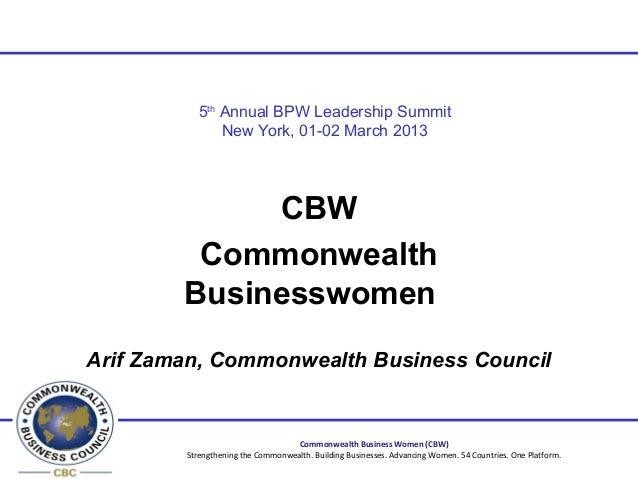5th Annual BPW Leadership Summit               New York, 01-02 March 2013             CBW         Commonwealth        Busi...