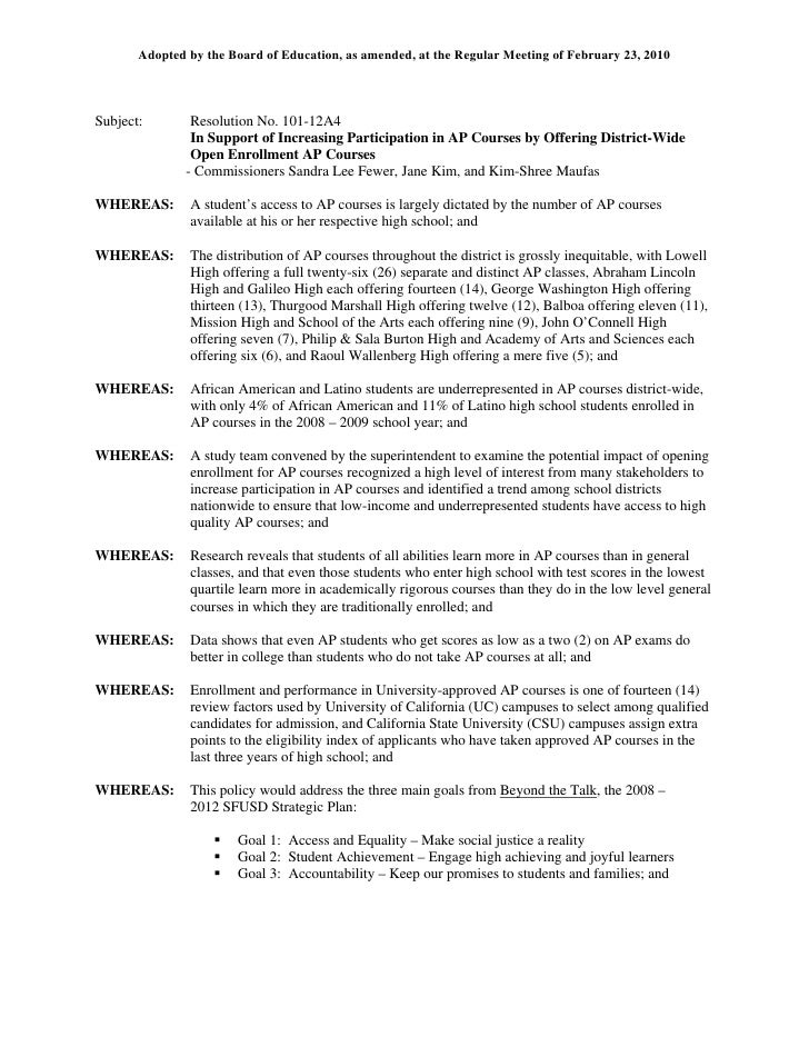 Adopted by the Board of Education, as amended, at the Regular Meeting of February 23, 2010     Subject:        Resolution ...