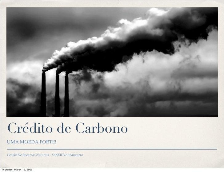 Crédito de Carbono     UMA MOEDA FORTE!      Gestão De Recursos Naturais - FASERT/Anhanguera    Thursday, March 19, 2009