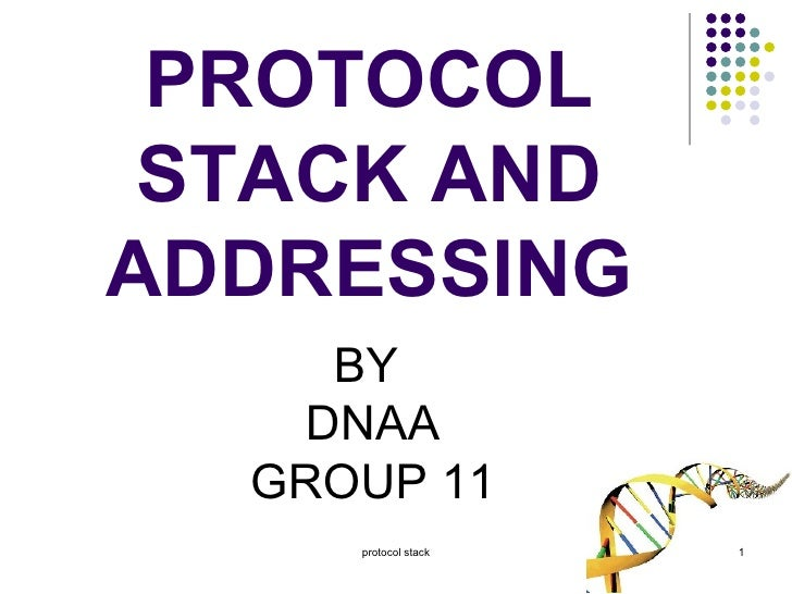 PROTOCOL STACK AND ADDRESSING BY  DNAA GROUP 11 protocol stack