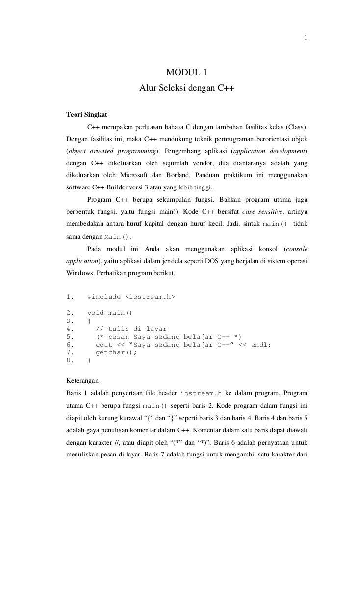 1                                    MODUL 1                          Alur Seleksi dengan C++Teori Singkat       C++ merup...