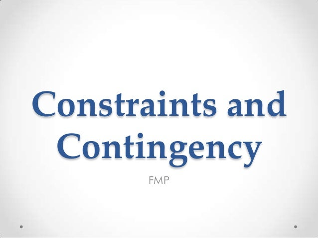 Constraints andContingencyFMP