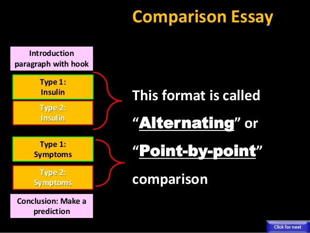 types of compare and contrast essays