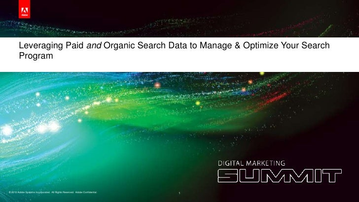 Leveraging Paid and Organic Search Data to Manage & Optimize Your Search        Program© 2012 Adobe Systems Incorporated. ...