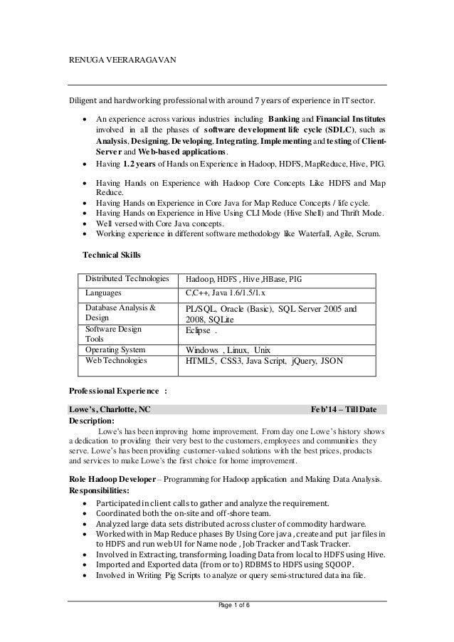 Lovely RENUGA VEERARAGAVAN Resume HADOOP. Page 1 Of 6 RENUGA VEERARAGAVAN Diligent  And Hardworking Professional With Around 7 Years Of Experience ... Pertaining To Hadoop Developer Resume