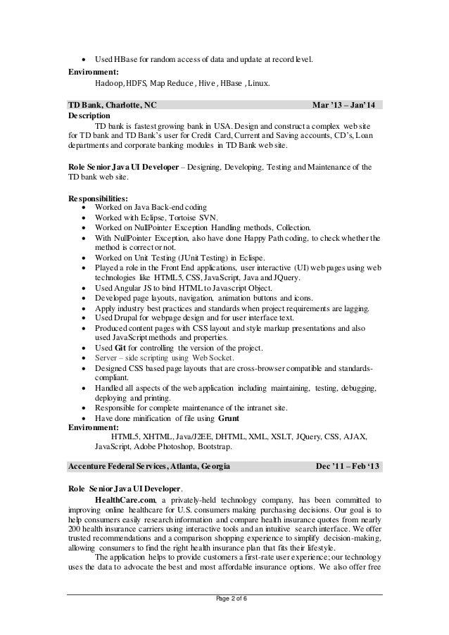 2 - Hadoop Developer Resume