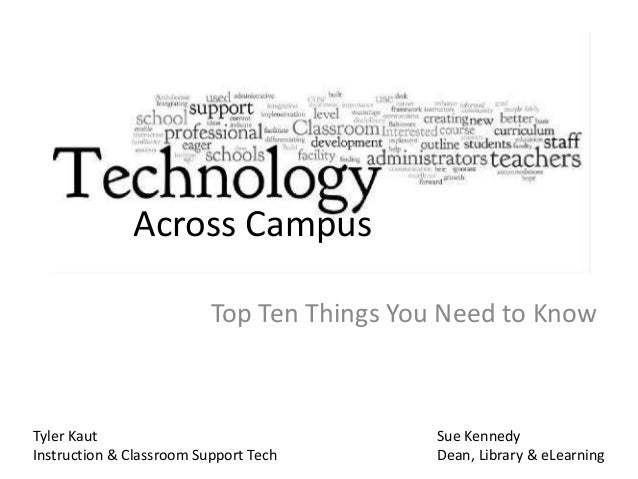 Top Ten Things You Need to Know Across Campus Sue Kennedy Dean, Library & eLearning Tyler Kaut Instruction & Classroom Sup...