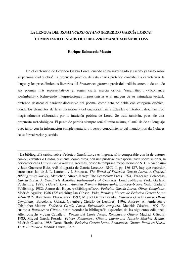 LA LENGUA DEL ROMANCERO GITANO (FEDERICO GARCÍA LORCA):            COMENTARIO LINGÜÍSTICO DEL <<ROMANCE SONÁMBULO>>       ...