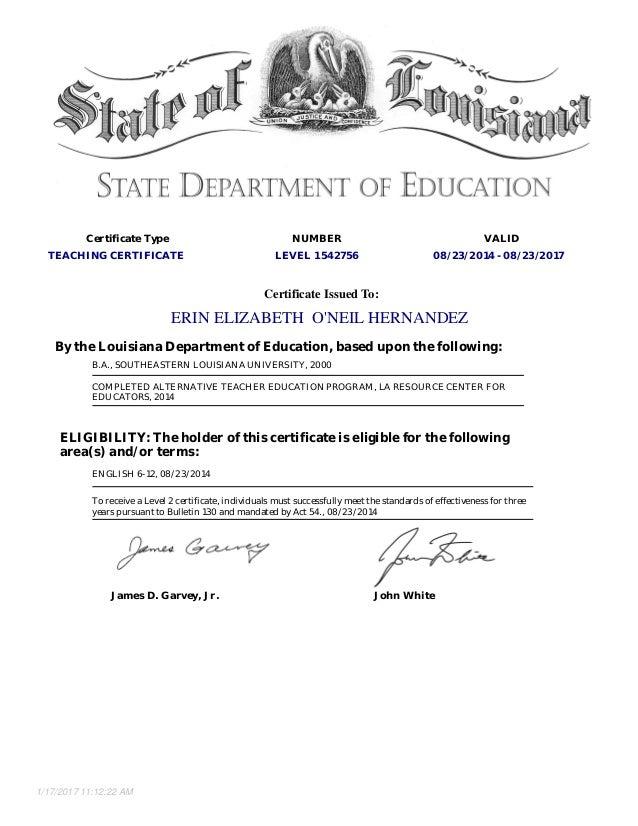 Erin Oneil Hernandez Teaching Certificate Level 1 Exp 2017