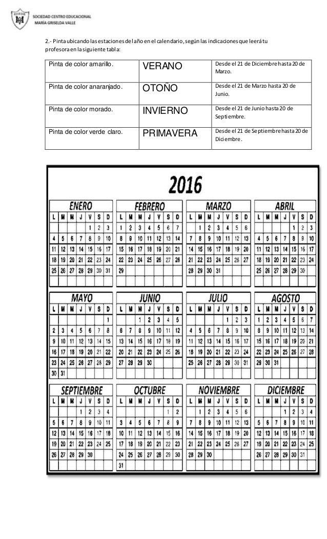 2.- Pintaubicando lasestacionesdel añoenel calendario,segúnlasindicacionesque leerátu profesoraenlasiguiente tabla: Pinta ...