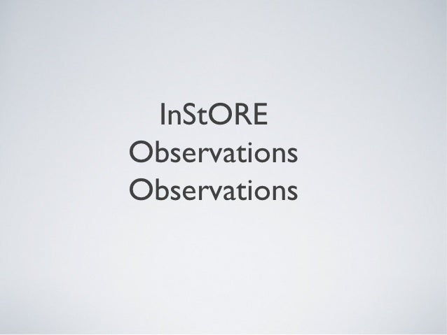 InStOREObservationsObservations
