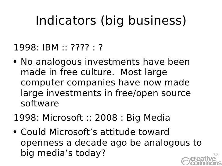 Indicators (big business) <ul><li>1998: IBM :: ???? : ? </li></ul><ul><li>No analogous investments have been made in free ...