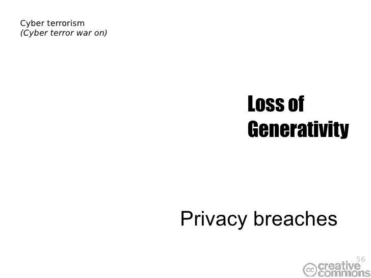 Cyber terrorism (Cyber terror war on) Privacy breaches Loss of Generativity