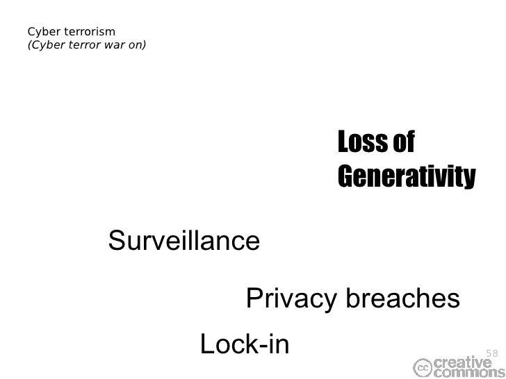 Cyber terrorism (Cyber terror war on) Privacy breaches Loss of Generativity Lock-in Surveillance