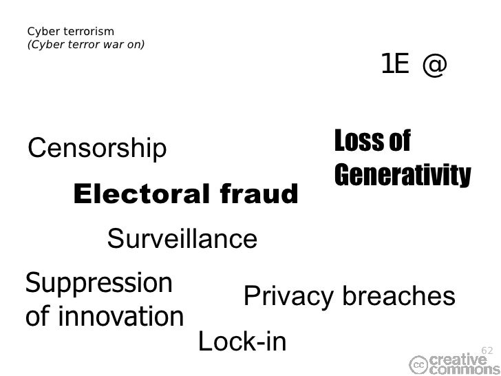 Cyber terrorism (Cyber terror war on) Privacy breaches Loss of Generativity Lock-in Surveillance DRM Censorship Suppressio...