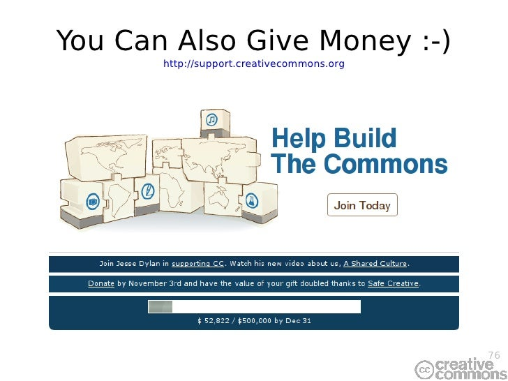 You Can  Also  Give Money :-) http://support.creativecommons.org