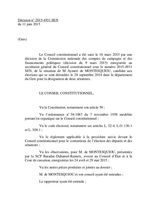 Décision n° 2015-4931 SEN du 11 juin 2015 (Gers) Le Conseil constitutionnel a été saisi le 16 mars 2015 par une décision d...