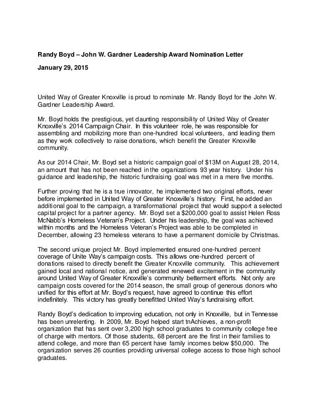 John W Gardner Leadership Award Nomination Letter Sample