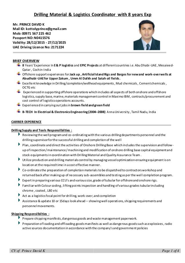cv drilling logistics coordinator with 8 years experience