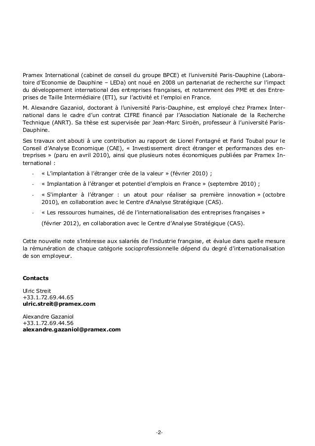 -2- Pramex International (cabinet de conseil du groupe BPCE) et l'université Paris-Dauphine (Labora- toire d'Economie de D...