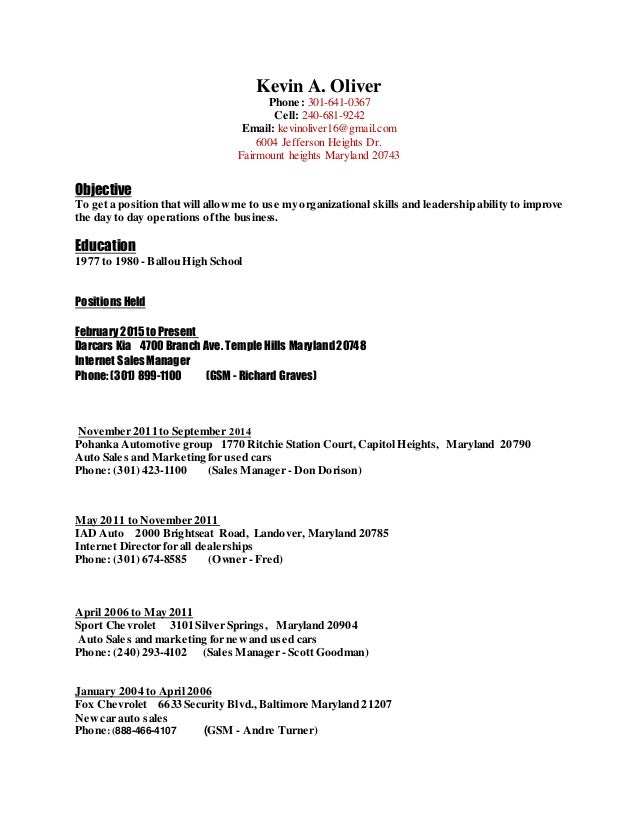 kevin s resume