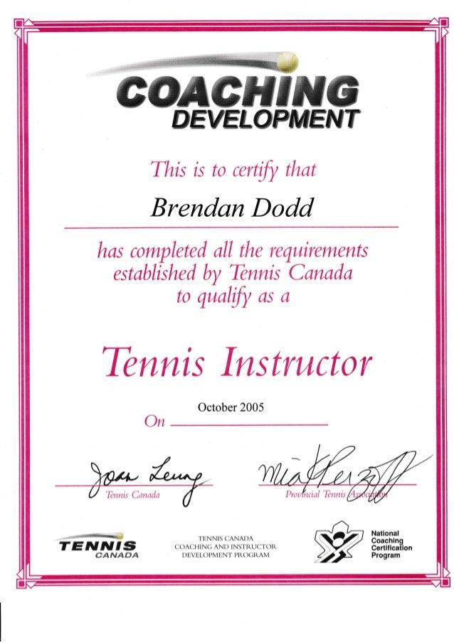 Brendan Dodd Canada Tennis Instructor