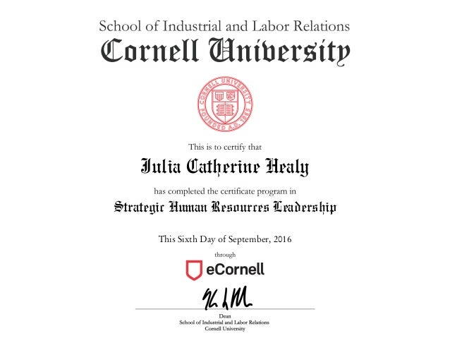 Certificate Strategic Human Resources Leadership