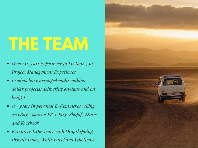 THE TEAM Over 20 years experience in Fortune 500 Project Management Experience Leaders have managed multi-million dollar p...