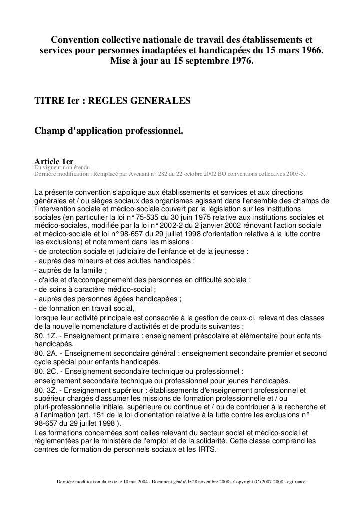 Convention collective nationale de travail des établissements et   services pour personnes inadaptées et handicapées du 15...