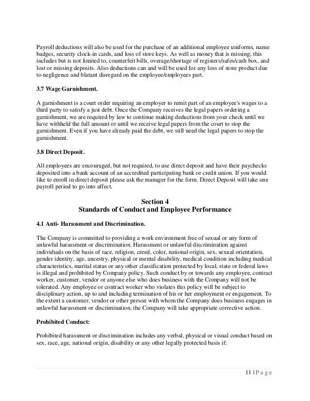 New Employee Handbook – Employee Uniform Form