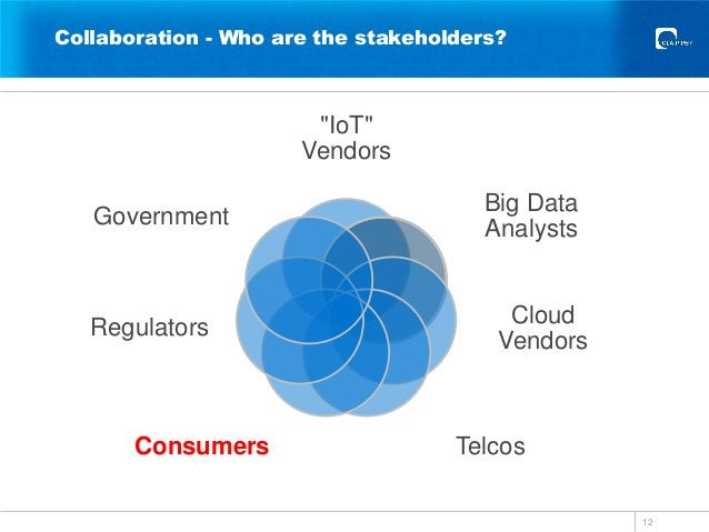 """Collaboration - Who are the stakeholders? 12 """"IoT"""" Vendors Big Data Analysts Cloud Vendors TelcosConsumers Regulators Gove..."""
