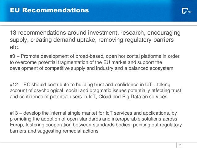 EU Recommendations 13 recommendations around investment, research, encouraging supply, creating demand uptake, removing re...
