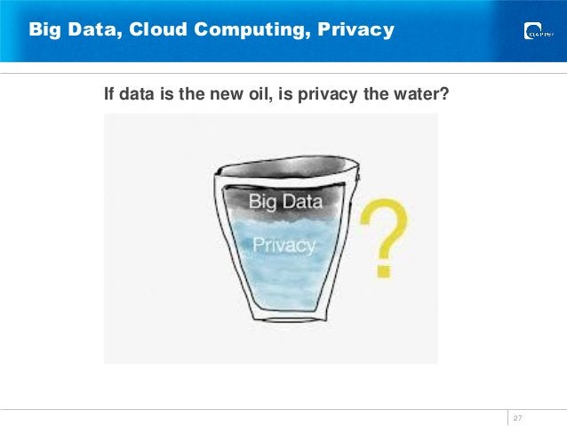 Big Data, Cloud Computing, Privacy If data is the new oil, is privacy the water? 27
