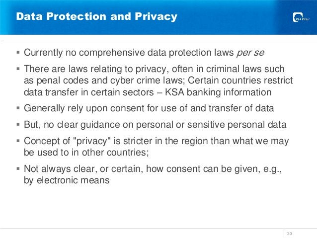 Data Protection and Privacy 30  Currently no comprehensive data protection laws per se  There are laws relating to priva...