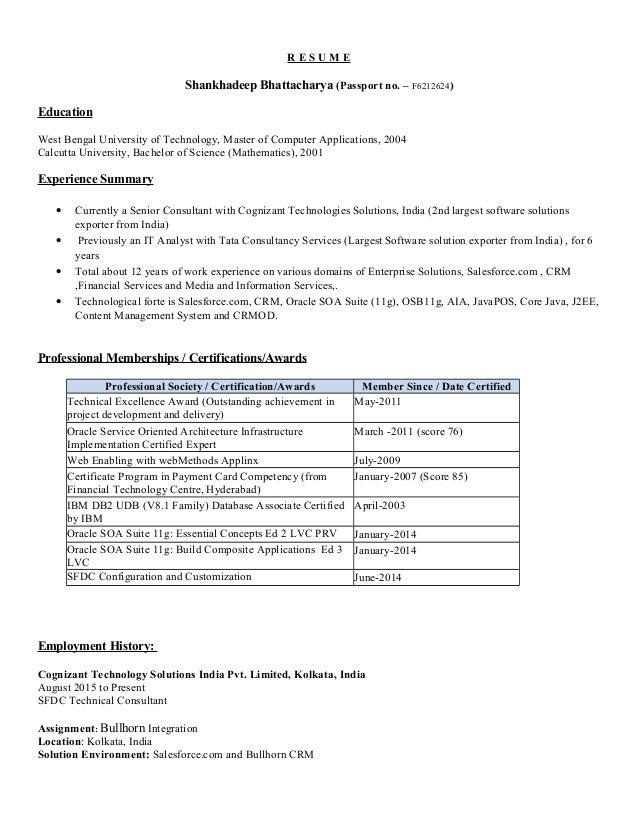 shankhadeep bhattacharya cognizant resume