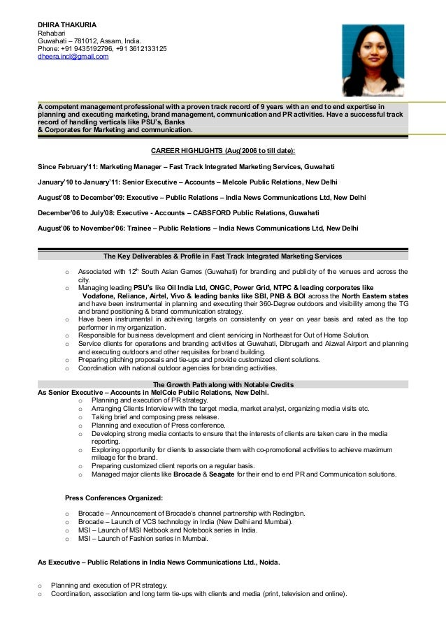 resume for communication