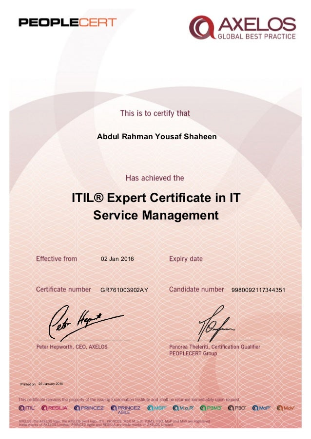 Itil Expert Certificate In It