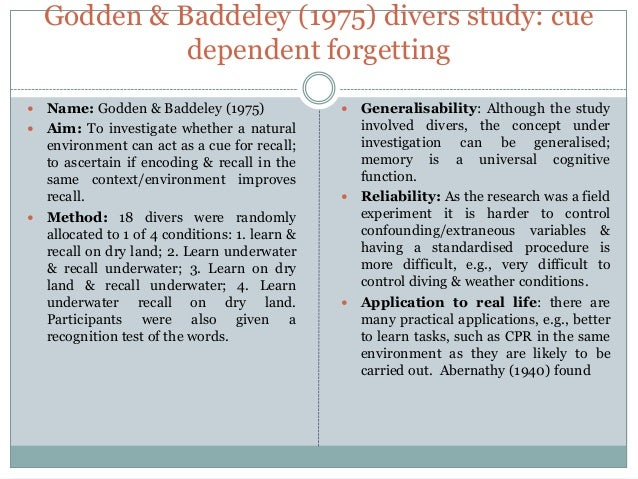 Godden and Baddeley (1975) Psychology Essay - 400 Words