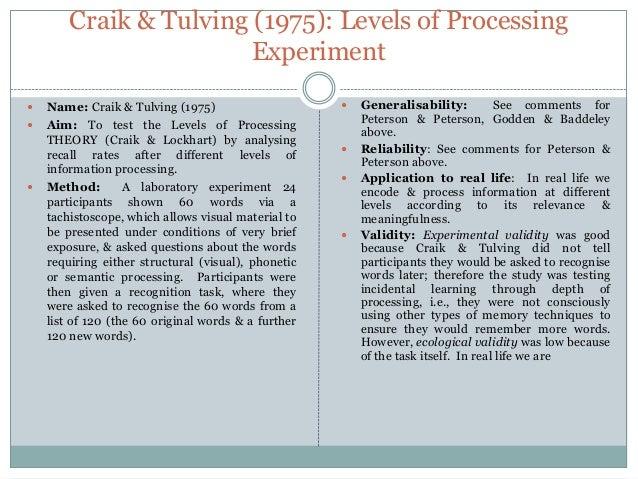 Craik & Tulving's Study of Levels of Processing - Edexcel ...