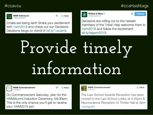 #ccavcu #ccaHashtags Provide timely information
