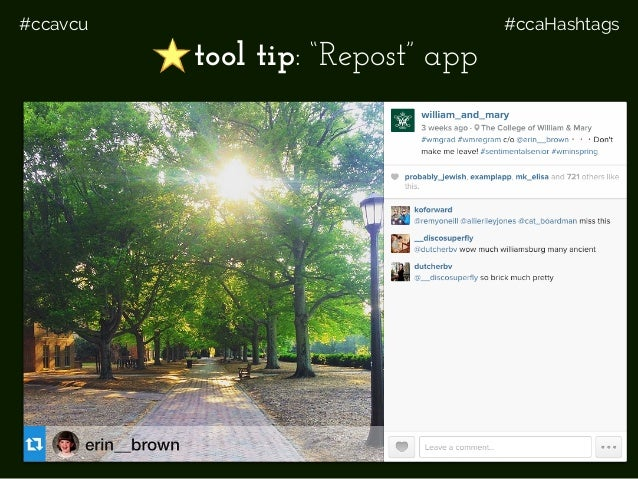 "#ccavcu #ccaHashtags Share tool tip: ""Repost"" app"