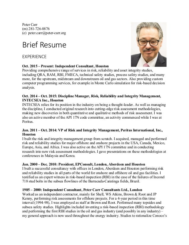 Peter Carr brief resume 2016-01-14