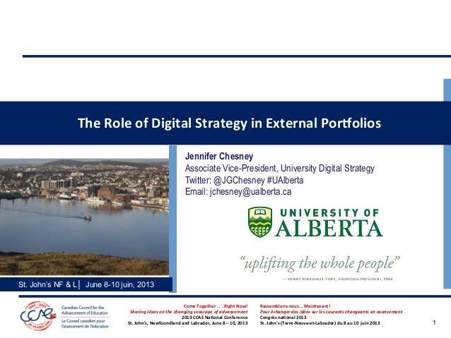 The  Role  of  Digital  Strategy  in  External  PorSolios   Jennifer Chesney Associate Vice-President, Uni...