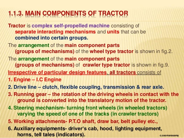 parts of a tractor and their functions pdf