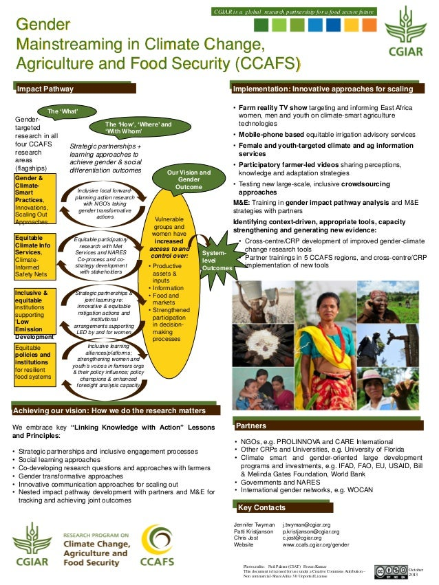 CGIAR is a global research partnership for a food secure future  Gender Mainstreaming in Climate Change, Agriculture and F...