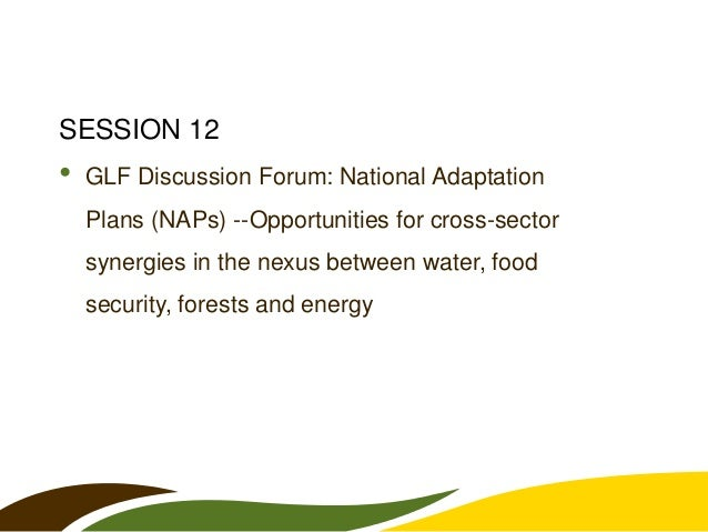 SESSION 12  •  GLF Discussion Forum: National Adaptation Plans (NAPs) --Opportunities for cross-sector synergies in the ne...