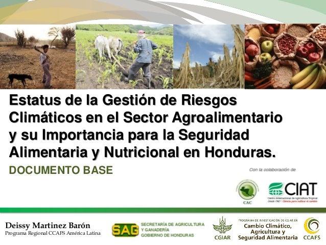 Estatus de la Gestión de Riesgos Climáticos en el Sector Agroalimentario y su Importancia para la Seguridad Alimentaria y ...