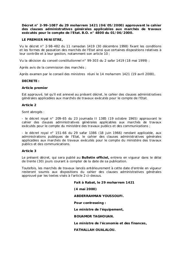 Décret n° 2-99-1087 du 29 moharrem 1421 (04/05/2000) approuvant le cahier des clauses administratives générales applicable...